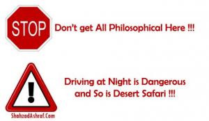 stop warning sign desert safari driving at night