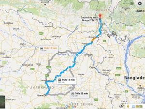 Ranchi to Darjeeling Route